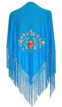 Flamenco Shawl blue small flowers