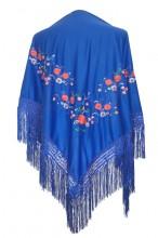 Flamenco Shawl royal blue triangular flowers