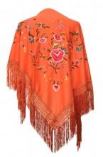 Flamenco Shawl orange with flowers