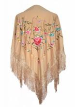 Flamenco Shawl beige with flowers