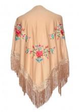 Flamenco shawl beige with triangular flowers
