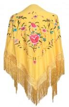 Flamenco Shawl yellow with flowers