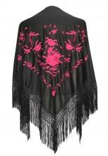Flamenco Shawl Black Pink