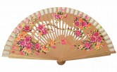 Fan light brown with flowers wood