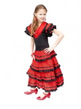 Spanish Flamenco Dress black/red