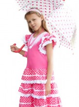 Spanish Flamenco Dress pink/white