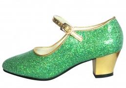 Flamenco Shoes Green Gold Glitter / Anna Frozen Shoes