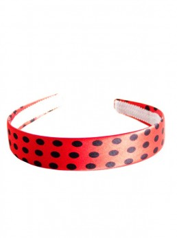 Headband red with black dots